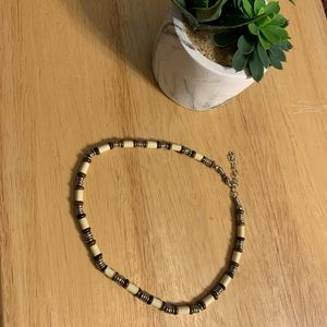 Brown and Tan Link Necklace Metal Clasp
